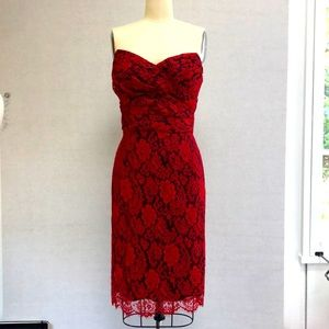 Dolce & Gabbana Red Lace Strapless Dress - 44